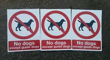"No Pets Dogs Allowed  Warning Sign Sticker Decal 4.25"" x 5.75"" . Set of 3."