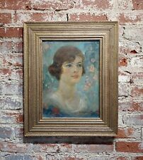 Maurice Greenberg -Young Woman Portrait-1921 Art Nouveau-Oil painting