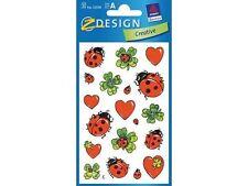 3 planches de stickers motif COCCINELLES
