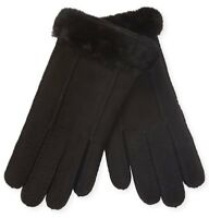 UGG Gloves Perforated Black Sheepskin Lg NEW $140