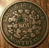 LOWER CANADA BANQUE DU PEUPLE TOKEN BELLEVILLE SOU BOUQUET - Open wreath