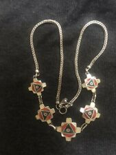Silver From Peru Artisan Piece Beautiful Inlaid Chakana Inca Cross Necklace