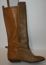 VINTAGE Light Brown Leather Pony Hair Fur Boots 6 6.5 Flat Stitch Detail