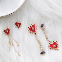 Korean Asymmetric Long Star Love Heart Tassel Drop Earrings Vintage LADY Earring