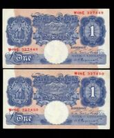 UK Great Britain ENGLAND 2 X 1  POUND 1940 - 1948  P-367 Consecutive numbers EF