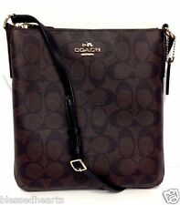 COACH Messenger NS Cross Body Handbag Purse Brown Black Signature C 35940 New