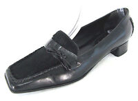 Nine West Shoes Sz 8.5 Womens Black Leather & Faux Fur Pump Loafers Low Heels