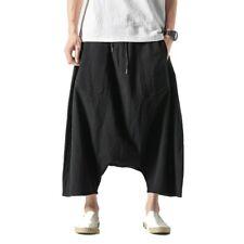 Summer Men's Low Crotch Baggy Big Fork Pants Cotton Linen Chinese style Plain D
