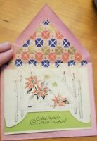 Vintage Antique ARTISTIC Christmas unused pink envelope poinsettia candles