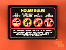 """Time Out arcade house rules sign 2x3"""" fridge/locker magnet  retro 80s video game"""