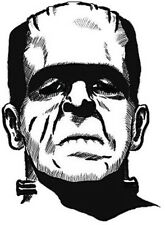 FRANKENSTEIN MONSTER BUMPER STICKER HELMET STICKER BLACK AND WHITE