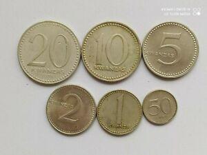 Angola set of 6 coins 20+10+5+2+1 kwanza 50 lwei 1975