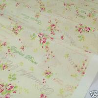 PER FQ/1/2 metre Cream Beautiful Rose dressmaking/craft fabric 100 % cotton