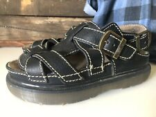 DR MARTENS Black LEATHER Sandals Sz US 7, UK 6, EU 39  BUCKLE