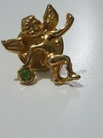 Vintage Costume Jewellery cherub Brooch Faux diamond Gold Tone