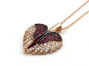 Womens 925 Sterling Silver Zircon Necklace Angel Wings Rose Gold