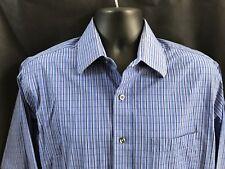 Michael Kors Mens Large Long Sleeve Button Up Shirt Blue Plaid