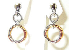 9CT ROSE & YELLOW GOLD PLATED 925 HALLMARKED SILVER CIRCLES DROP EARRINGS