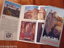 Depliant mini cartina SAN LEO Antica Montefeltro 32 km da Rimini Multi lingue