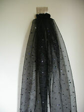 Hens Night Bachelorette Party VEIL BLACK with BLACK glitter dots 50cm long