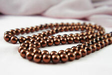 *110pcs Beads- 8mm Bordeaux Color Imitation Acrylic Loose Round Pearl Spacer*