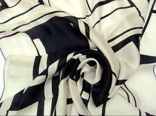 "35"" 100% Silk Scarf Square Women Neck large Shawl Wrap striped black FJ31032"