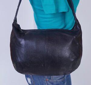 COVINGTON Medium Black  Leather Shoulder Hobo Tote Satchel Purse Bag
