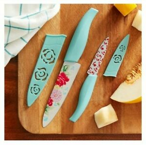 The Pioneer Woman Sweet Rose 2-Piece Chef & Paring Knife Set With Sheaths NEW