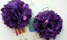 2 Girls small  2 inch Satin and mesh Flower ...Flower Hair Clip PURPLE  x 2