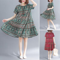ZANZEA Womens Summer Short Sleeve Casual Loose Dress Ladies Baggy Midi Dresses