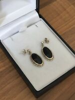 Sterling Silver Onyx Dangle Earrings 4.9gr Sheffield