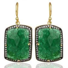 Green Aventurine CZ 925 Sterling Silver Dangle Earrings Gemstone Jewelry