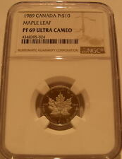 Canada 1989 Platinum 1/4 oz $10 NGC PF-69UC Maple Leaf Mintage - 1,999