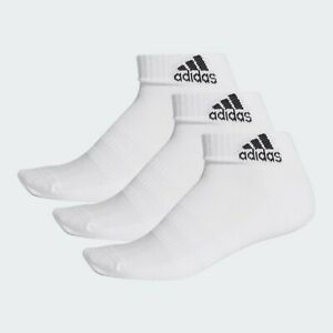 adidas Cushioned Ankle Socks 3 Pairs Mens Womens Sports Cotton White