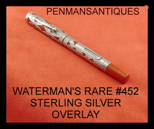 CIRCA 1900 WATERMAN'S # 452 CARDINAL OVERLAY STERLING SILVER FOUNTAIN PEN