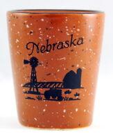 NEBRASKA FARM SCENE CERAMIC SHOT GLASS SHOTGLASS