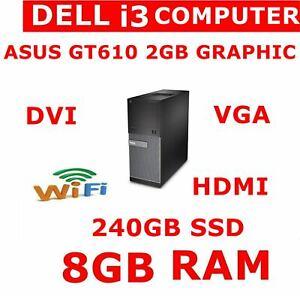 FAST DELL i3 COMPUTER PC 8GB RAM NEW 240GB GT610 - 2GB GRAPHIC CARD HDMI VGA DVI