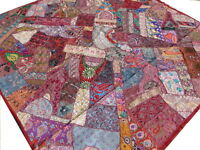 Indian Quilt Patchwork Queen Bed cover Burgundy Bedspread Tapestry India Boho Q