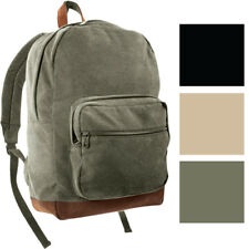 Canvas Leather Military Backpack Two Tone Teardrop Day Pack School Bag