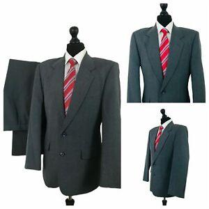 Mens Suit 2 Piece 40R 34W 32L Grey Formal Business  P89