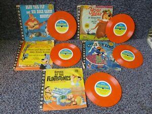4 x Vintage Gala Goldentone Children's Records inc The Flintstones Yogi Bear