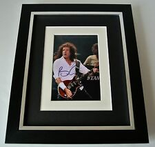 Brian May SIGNED 10X8 FRAMED Photo Mount Autograph Display Queen Music & COA