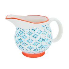 Porcelain Milk Jug Gravy Cream Sauce Serving Pourer - Blue / Orange - 300ml