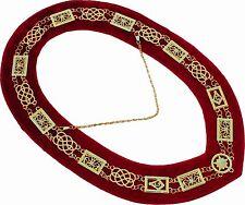REGALIA MASONIC GRAND LODGE METAL GOLD CHAIN COLLAR RED VELVET DMR100GR