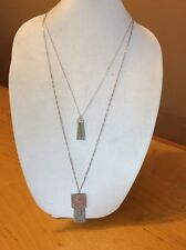 Ann Taylor Double Silver Long Necklace $29.99 (20049594) MD 21