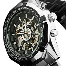 Automatic Uhr Herren Armbanduhr Schwarz Weiß Edelstahl Geschenk Heiß