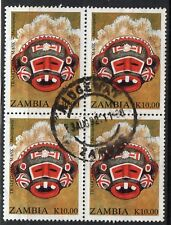 ZAMBIA = 1992 Tribal Masks, K10.00. SG698. Block of 4. Fine Used.