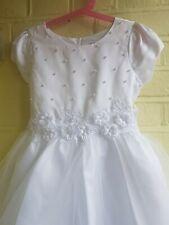 Vestido de dama de honor primera Sagrada Comunión vestido blanco edad 8 Flores Niña Vestido/BNWT