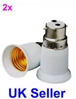 2x B22 to E27 Lamp Light Bulb BAYONET Cap B22 To EDISON Screw E27 Adpt Converter