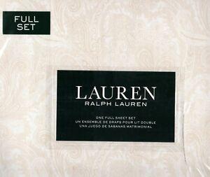 Ralph Lauren Full Sheet Set Aaron Paisley Champagne Beige 4pc Peach Cottage